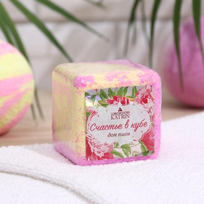 """Шипучая соль для ванн Счастье в кубе """"Дон Пион"""", 130 г"""