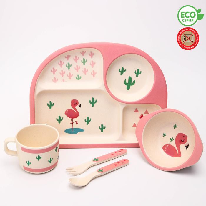 """УЦЕНКА Набор бамбуковой посуды """"Фламинго"""", тарелка, миска, стакан, приборы, 5 предметов"""