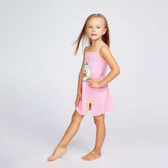 Сорочка для девочки «Зая», цвет розовый, рост 104 см