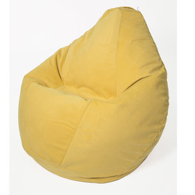 Кресло-мешок «Груша» большая, диаметр 90 см, высота 135 см, лимонный, велюр