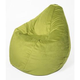 Кресло-мешок «Груша» большая, диаметр 90 см, высота 135 см, травяной, велюр
