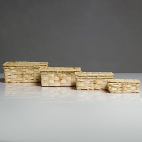 A set of boxes, 4 PCs, 19×15×8, 16×12×6, 14×10×5,5, 11×6×4,5 cm, bamboo