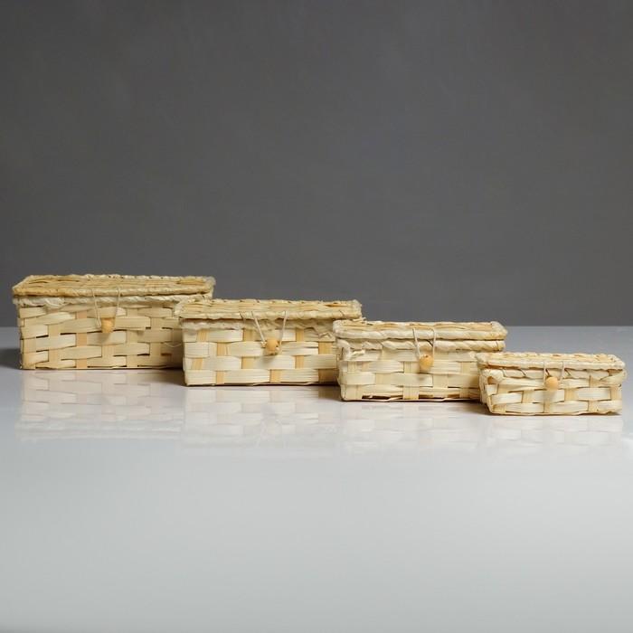 Набор шкатулок, 4 шт, 19×15×8, 16×12×6, 14×10×5,5, 11×6×4,5 см, бамбук