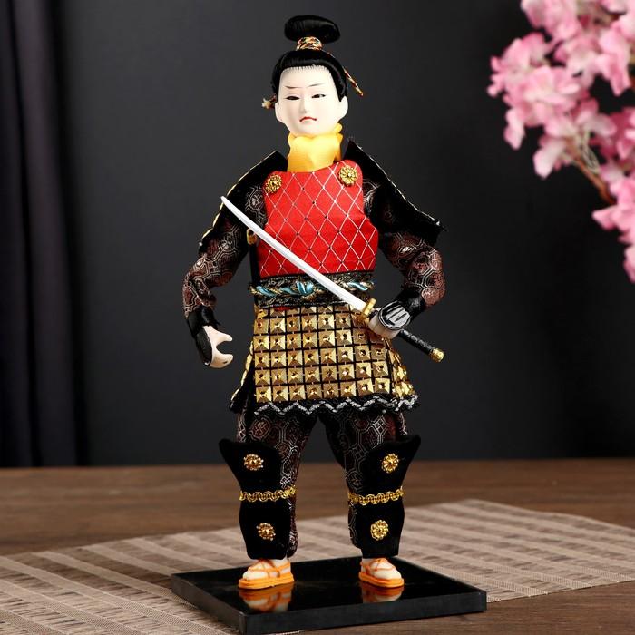 """Кукла коллекционная """"Китайский гвардеец в золотых доспехах с мечом"""" 31х12,5х12,5 см"""