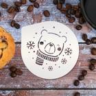 """Stencil for coffee """"Bear"""" 9.5 x 8.5 cm"""