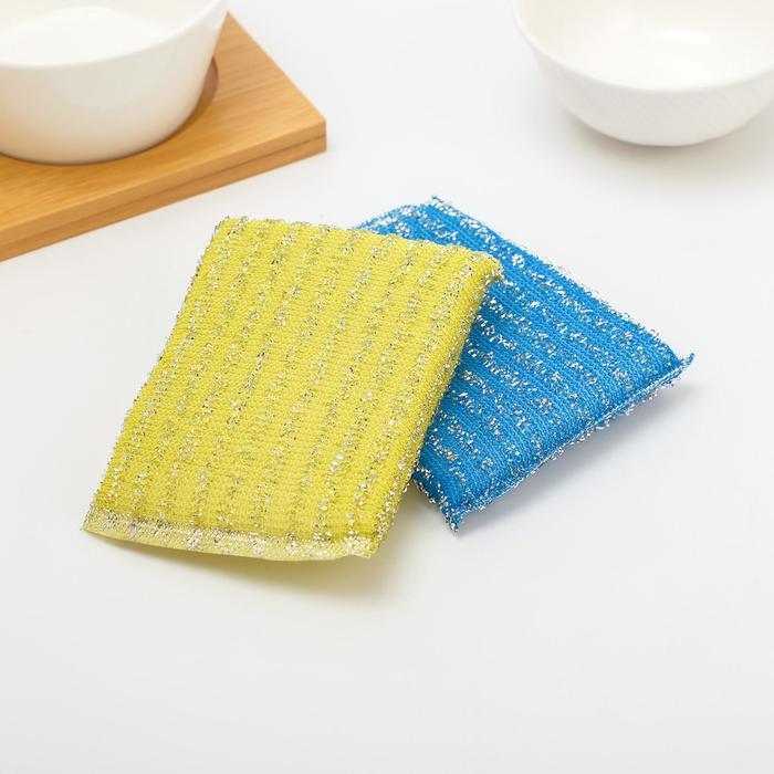 Губка для мытья посуды со стальной стружкой 12×9×3 см, цвет МИКС