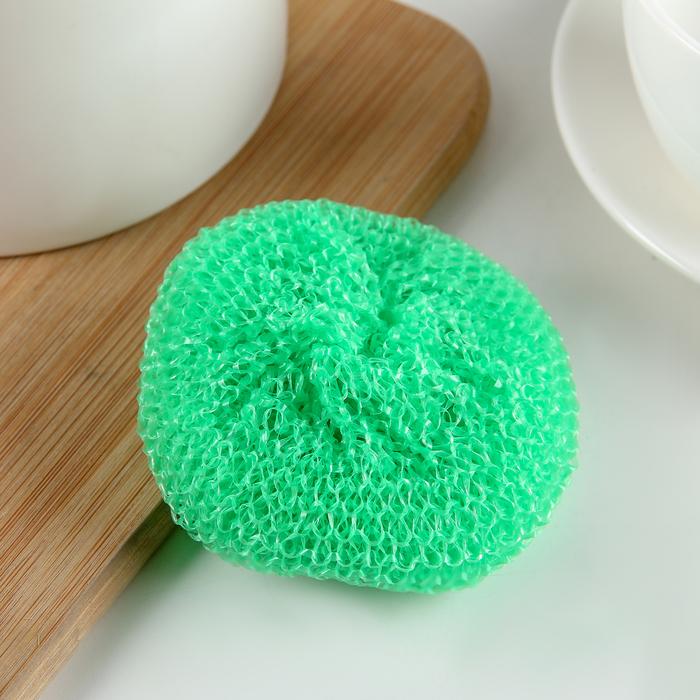 Губка для мытья посуды пластиковая «Бублик», 7×7×2 см, цвет МИКС - фото 4645885