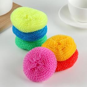 Губка для мытья посуды пластиковая «Бублик», 7×7×2 см, цвет МИКС - фото 4645886