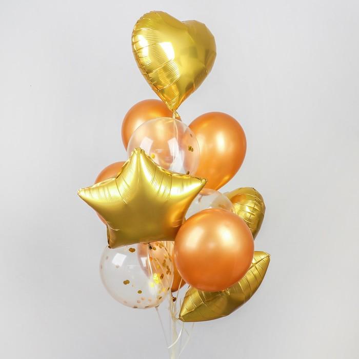 Букет из шаров «Хром», фольга, латекс, с конфетти, набор 14 шт, цвет золотой - фото 308467057