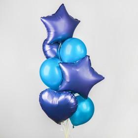 Букет из шаров «Хром», фольга, латекс, набор 14 шт., цвет сиреневый
