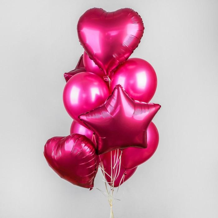 Букет из шаров «Хром», фольга, латекс, набор 14 шт., цвет розовый - фото 308467063