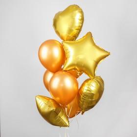 Букет из шаров «Хром», фольга, латекс, набор 14 шт., цвет золотой