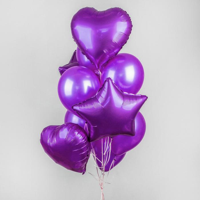 Букет из шаров «Хром», фольга, латекс, набор 14 шт, цвет фиолетовый - фото 308467069
