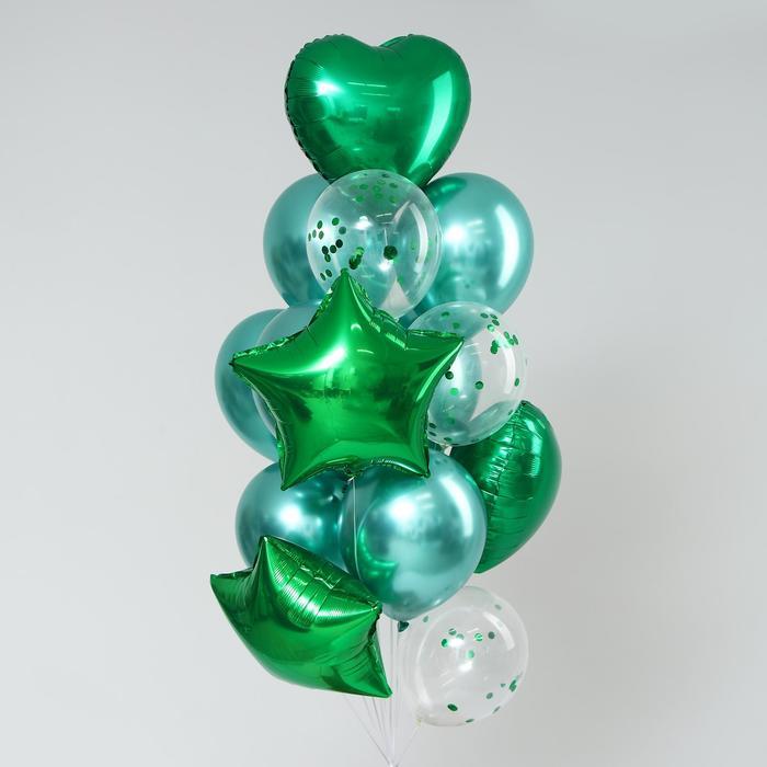 Букет из шаров «Хром», фольга, латекс, с конфетти, набор 14 шт, цвет зелёный - фото 308467071