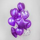 Букет из шаров «Хром», фольга, латекс, с конфетти, набор 14 шт., цвет фиолетовый