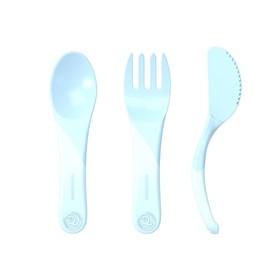 Набор детских приборов Twistshake Learn Cutlery, цвет пастельный синий, от 6 месяцев