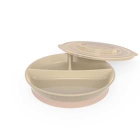 Тарелка детская с разделителями Twistshake Divided Plate, цвет пастельный бежевый, от 6 месяцев
