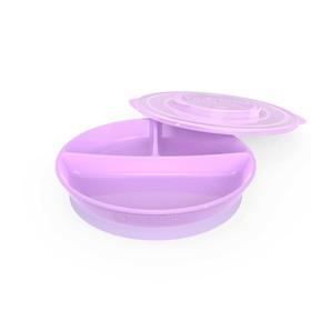 Тарелка детская с разделителями Twistshake Divided Plate, цвет пастельный фиолетовый, от 6 месяце