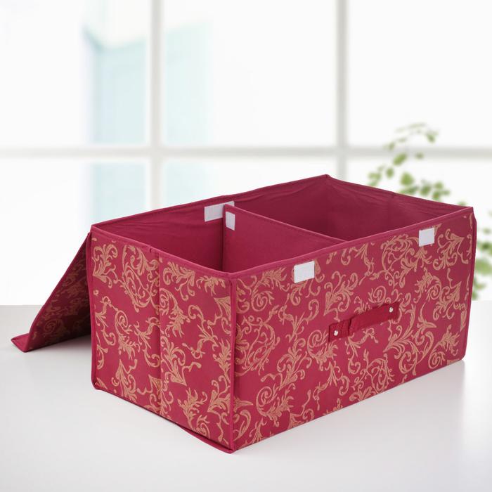 """Короб для хранения с двойной крышкой 50х30х25 см """"Бордо"""""""