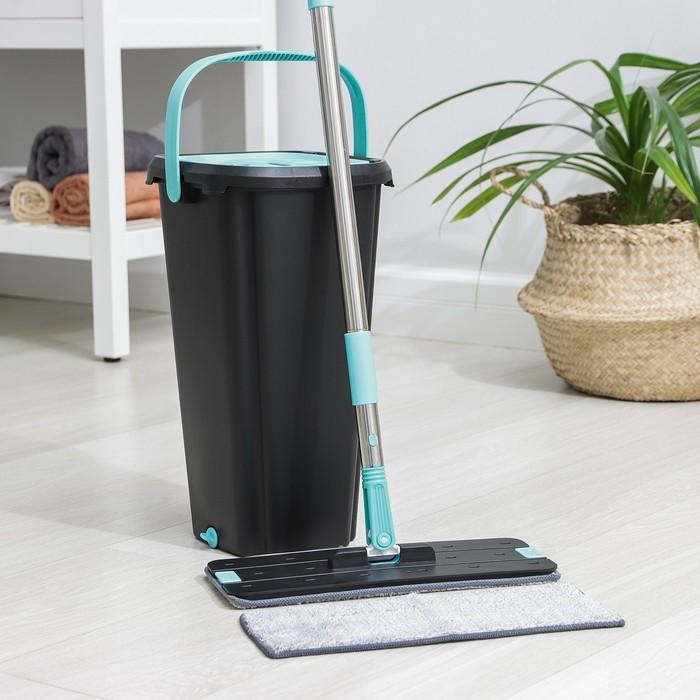 Набор для уборки: с отсеками для полоскания и отжима, швабра плоская, доп. насадка, дозатор, 9,5 л