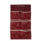 Органайзер с карманами подвесной «Бордо», 37×60 см, 6 отделений, цвет бордовый - фото 308332240