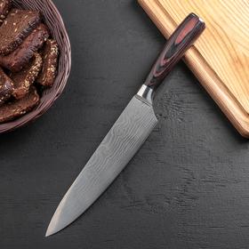 Нож кухонный «Изыск», лезвие 20,5 см, нержавеющая сталь 5Cr15MoV, рукоятка сосна