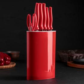 Набор кухонный «Колорит», на подставке, 6 предметов, цвет красный