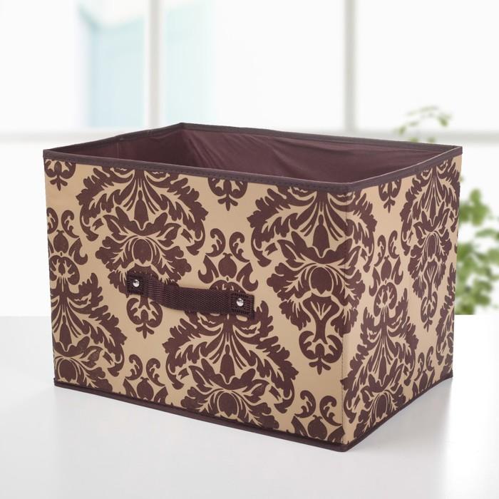 "Короб для хранения 37х27х27 см ""Вензель"", цвет коричнево-бежевый"