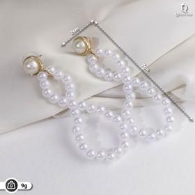 "Pearl earrings ""Tenderness"" beskonechnost , white gold"