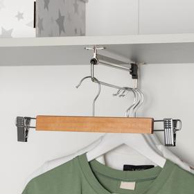 Вешалка для брюк и юбок с зажимами, 33×13 см, светлое дерево