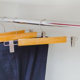 Вешалка для брюк и юбок с зажимами, 33×13 см, светлое дерево - фото 1717601