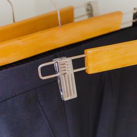 Вешалка для брюк и юбок с зажимами, 33×13 см, светлое дерево - фото 1717602