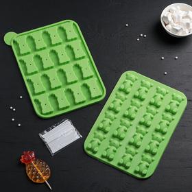 "Форма для леденцов и мороженого 16 ячеек 25,5x18x2,5 см ""Мишутка"", цвета МИКС"