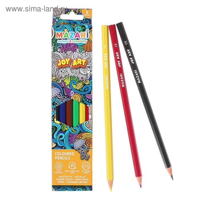 Карандаши цветные пластиковые 6 цветов JOY ART, шестигранные, d грифеля = 2.6 мм, в картонной коробке