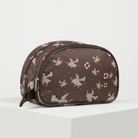 Travel cosmetic bag, 2 sections with zippers, brown