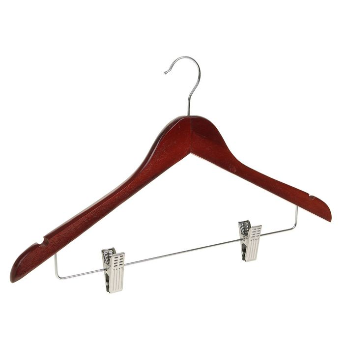 Вешалка-плечики с зажимами, размер 48-50, цвет вишневый