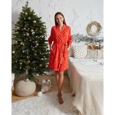 "Bathrobe womens KAFTAN ""Merry Christmas"", red, p 40-42"