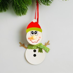 Набор для создания новогодней подвески со светом «Снеговик в шарфике»