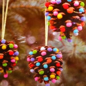 Набор для создания подвесной ёлочной игрушки из шишек «Восторг», набор 4 шт.