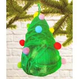 Набор для создания подвесной ёлочной игрушки из пряжи «Ёлочка с игрушками»