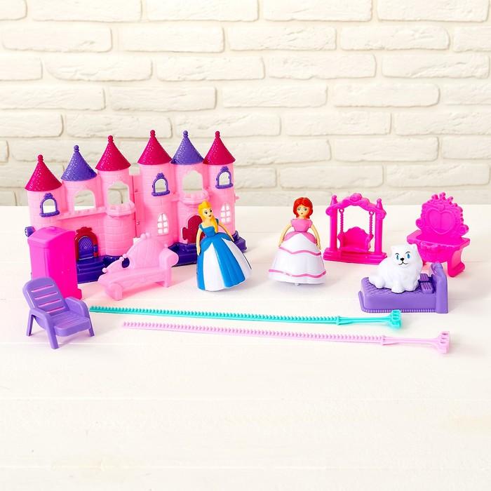 Замок для кукол, фигурки крутятся, с аксессуарами, звуковые и световые эффекты