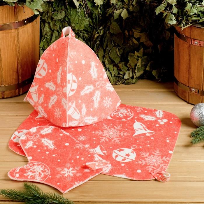 """Набор банный """"Рождественская"""" с термопечатью ( шапка, коврик, рукавица)"""