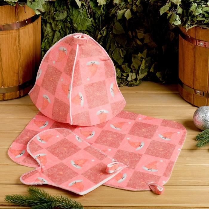 """Набор банный """"Шапки Деда Мороза"""" с термопечатью ( шапка, коврик, рукавица)"""