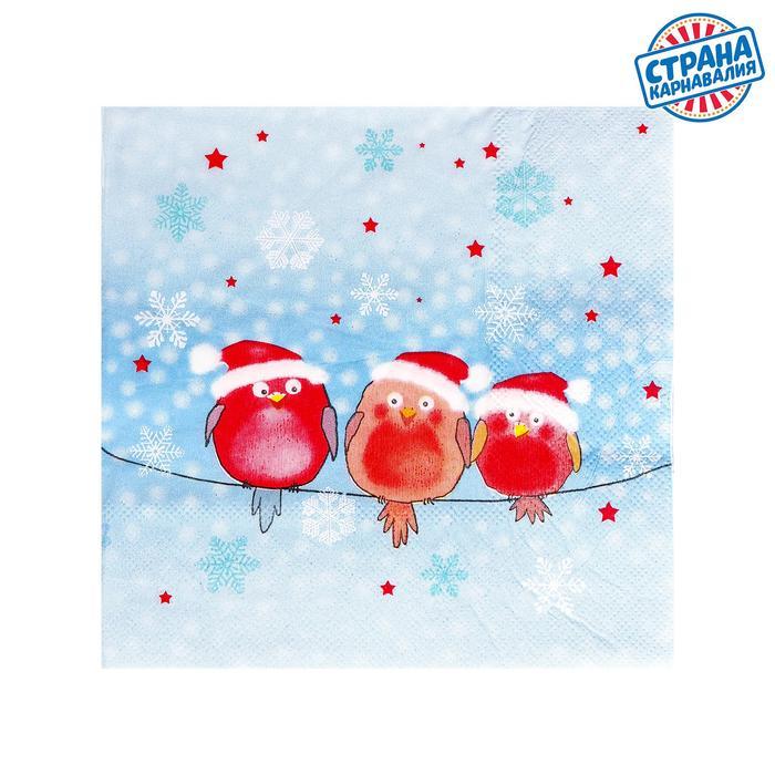 "Napkins ""Christmas birds"" 33х33 cm, set of 20 PCs"