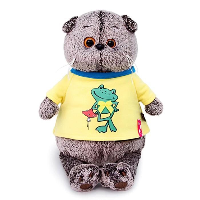 Мягкая игрушка «Басик в футболке с принтом «Лягушонок», 19 см - фото 4467519
