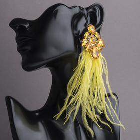 "Earrings feathers ""Temptation"" , color: yellow gold"