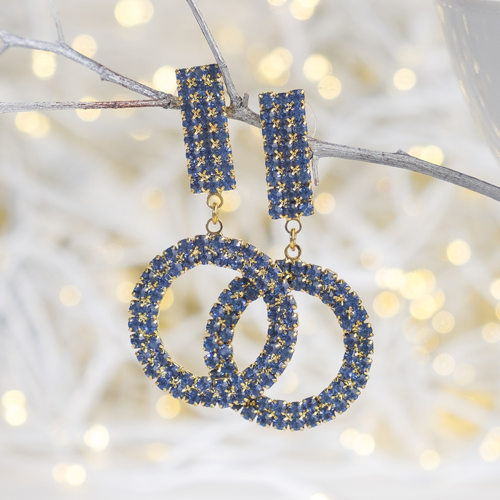 Earrings with rhinestones Maestro rectangle, color sky blue in gold