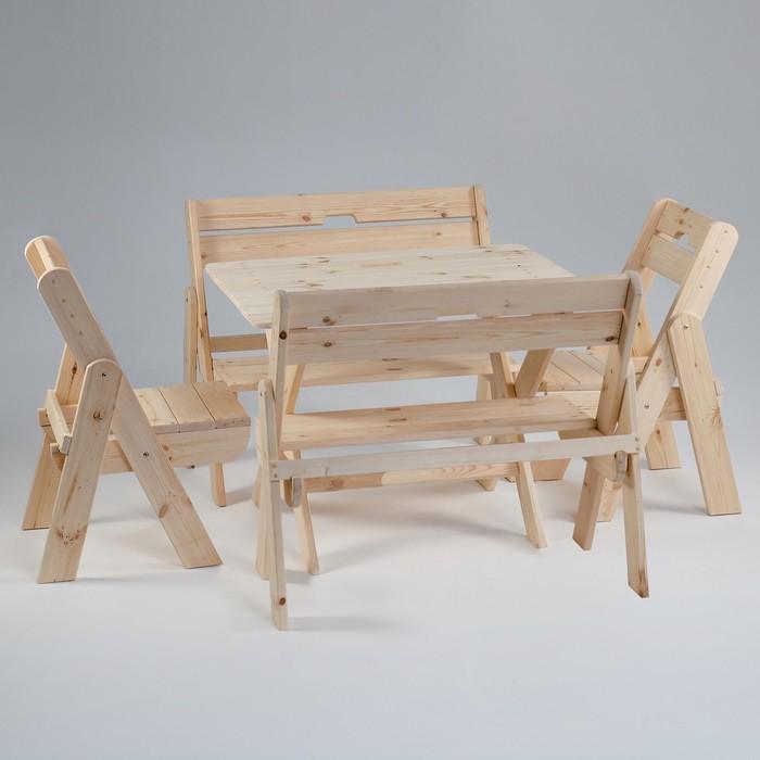 """Комплект садовой мебели """"Душевный"""" : стол 1,2 м, две скамейки, два стула"""