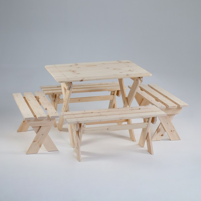 """Комплект садовой мебели """"Душевный"""" : стол 1,5 м, четыре лавки"""