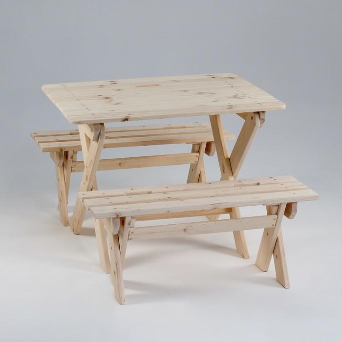 """Комплект садовой мебели """"Душевный"""": стол 1,2 м, две лавки"""